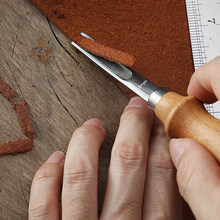 Artisanat en cuir pratique, couteau biseauté de ski, bricolage, outil manuel de coupe avec manche en bois 3 tailles A4mm A6mm A8mm