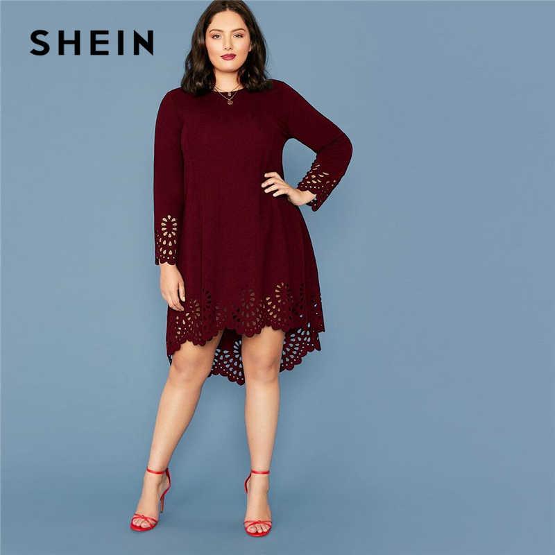Shein Vestido De Talla Grande Elegante Para Mujer Vestido Corto Asimetrico Con Corte Laser En Burdeos Manga Larga Y Cuello Redondo Vestidos Aliexpress