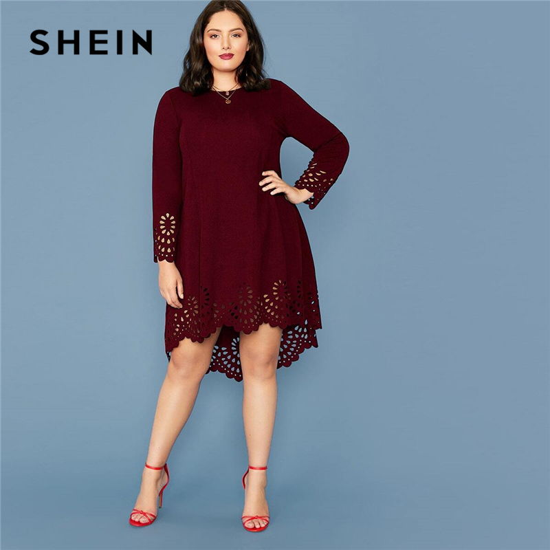 SHEIN Plus Size Burgundy Laser Cut Asymmetrical Hem Dress Women Spring Long Sleeve O-neck Solid A-line Elegant Short Dresses