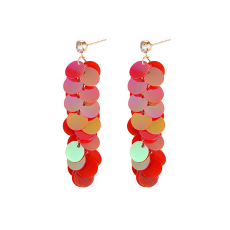 2019 Fashion Drop Earrings Temperament Multi layer Color Sequins Dangle Earrings Long Tassel Jewelry Party Gift wholesale WD401 in Drop Earrings from Jewelry Accessories