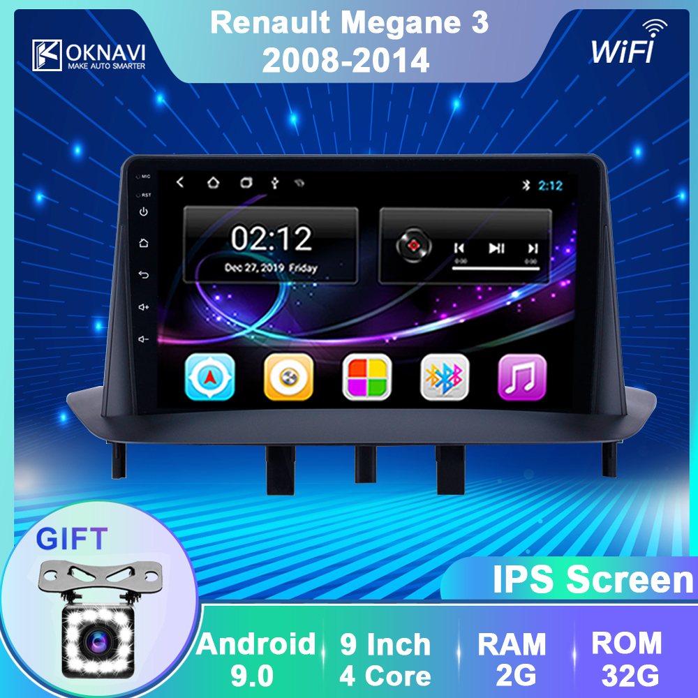 OKNAVI 9'' Android 9.0 Car Multimedia Player For Renault <font><b>Megane</b></font> <font><b>3</b></font> 2008 2009 2010 2011 2012 -2014 <font><b>GPS</b></font> Navigation Radio No DVD image