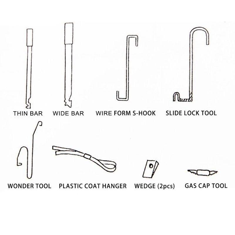 Tools : Car Door Lock Out Emergency Open Unlock Key Tools Kit   Black Air Pump Universal