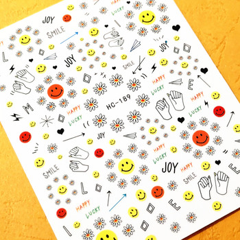 Newest HC-189 smile design  nail art sticker decal stamping back gule DIY nail decoration accessory newest haxx 49 50 51 3d nail art sticker back glue nail decal stamping japan type nail decoration tools