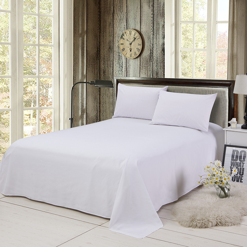ropa de cama Solid color polyester cotton bed sheet hotel home soft brushed flat sheet queen bed cover not included pillowcase 13