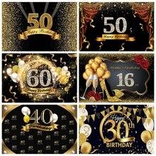 Laeacco Birthday Backdrop 해피 50th 40 30 25 18 생일 파티 골드 폴카 도트 포스터 사진 배경 Photocall Photo Studio