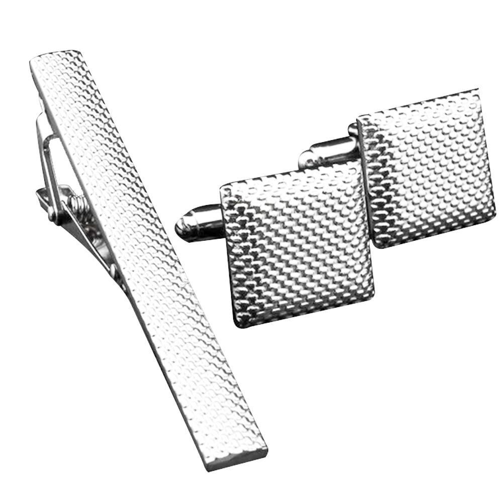 3pcs Men Metal Bar Tie Clip Set Accessories Clasp Necktie Pins Cufflinks Gift Business Wedding Office Shirt Jewelry Fashion