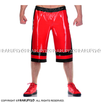 Sexy Long Leg Latex Boxer Shorts With Elastic Bands And Pockets And Trims Rubber Underpants Underwear Pants DK 0186