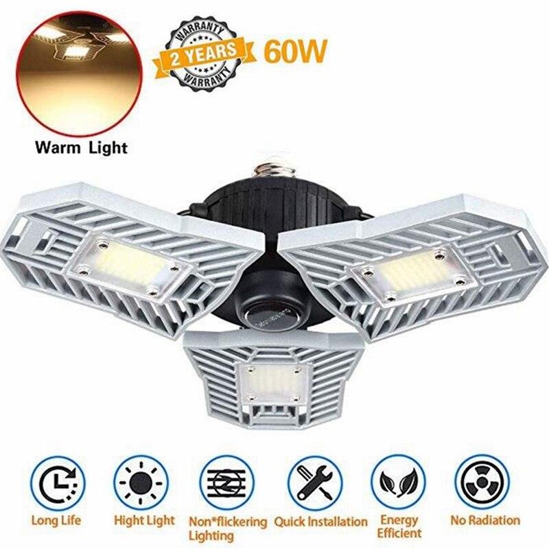 Warm Light LED Garage 60W 6000Lumen E26/E27 Ceiling Lights for Workshop Basement Industrial Lighting Dropshipping