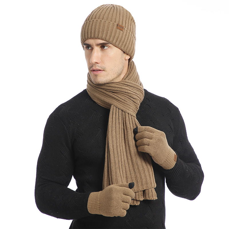 Europe And America Autumn And Winter Yarn Thickening Outdoor Warm Assortments Knitted Scarf Hat Gloves Three-piece Set