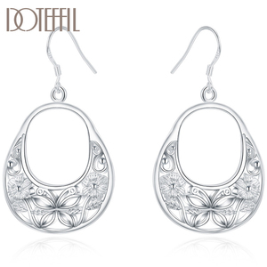 DOTEFFIL 925 Sterling Silver Charm Butterfly Hollow Drop Earrings For Women Lady Wedding Engagement Party Fashion Jewelry