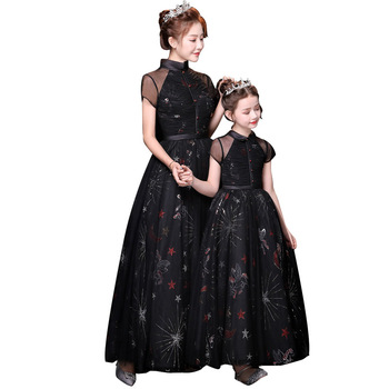 Mother Daughter Wedding Ball Dress Princess Black Tutu Dress Mom and Daughter Clothes Embroidery Flower Matching Family Outfits