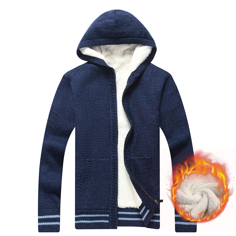 New Fashion Winter Cardigan Men Thick Windbreaker Warm Sweater Men Hooded Collar Fleece Wool Mens Sweaters M-XXXL Knitted Wear