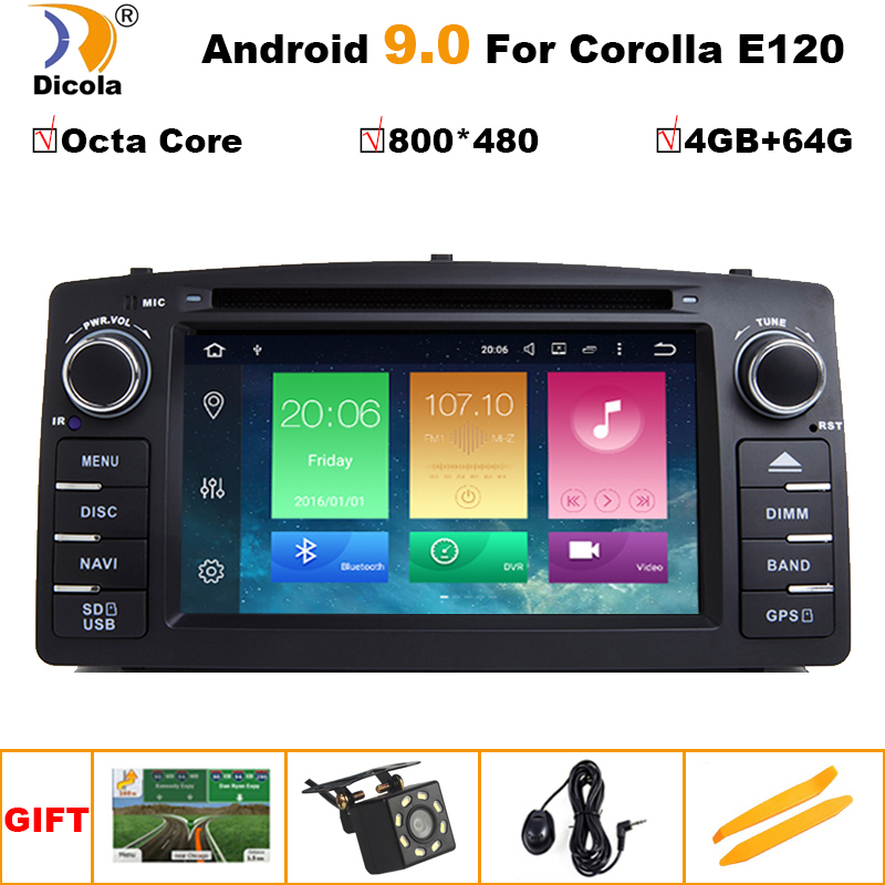 PX5 4G+64G 2 Din Android 9.0 Car Radio DVD Player For Toyota <font><b>Corolla</b></font> <font><b>E120</b></font> BYD F3 2003 2004 2006 Multimedia GPS Navigation Stereo image