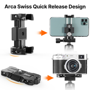 Image 2 - Ulanzi ST 15 Arca Swiss Quick Release Plate Foldable Phone Clamp Holder 2 in 1 Design With Cold Shoe 1/4 Screw Tripod Mount