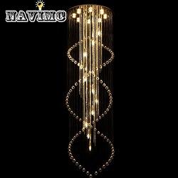Nowoczesny duży rozmiar kryształowy żyrandol spiralna długie schody oświetlenie oprawa dla przedpokój Hotel Villa