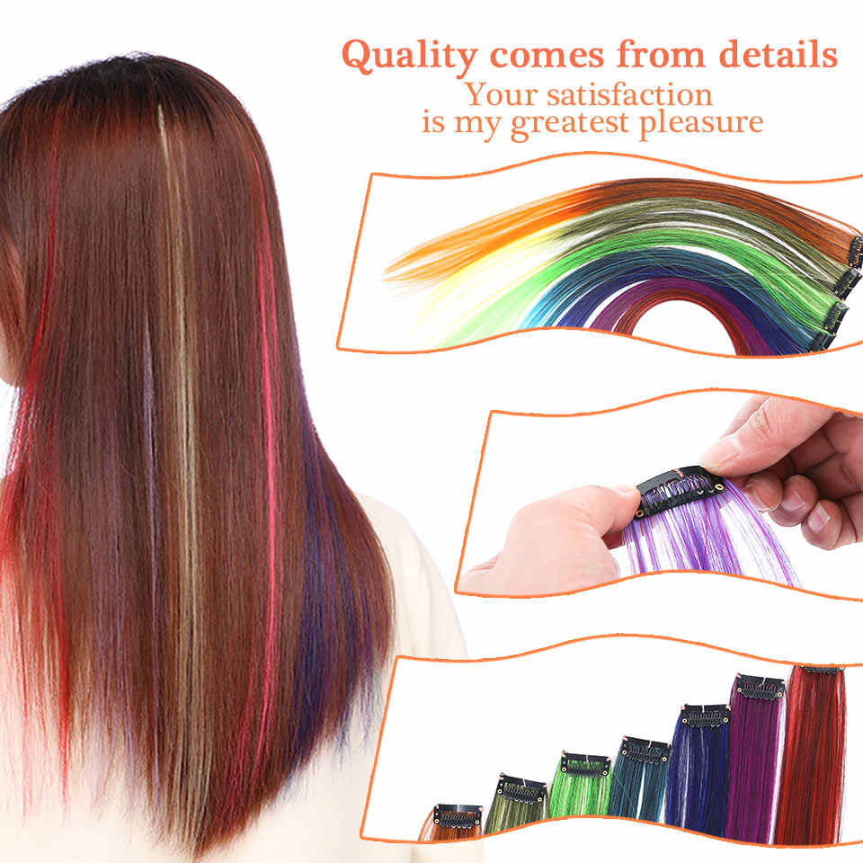 """WTB Colored Highlight Synthetic Hair Extensions Clip In One Piece Color Strips 22"""" Long Straight Hairpiece for Sports Fans Pink"""