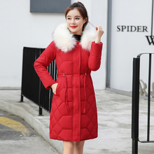 Winter coats women hooded cotton padd parka fur collar parkas mujer 2019 jacket for winter