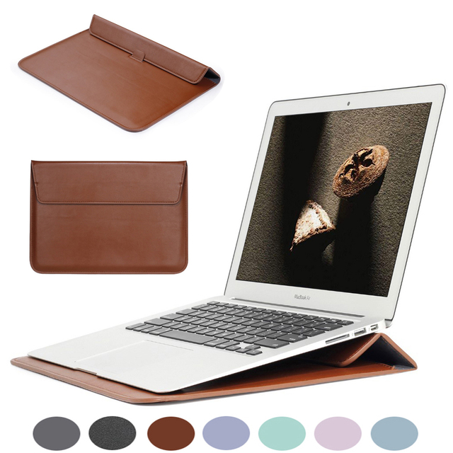 PU Leather Sleeve Notebook Bag For Macbook Air 13 Pro Retina 12 13 15 Laptop Case For Macbook New Air 13 A1932 Stand Cover