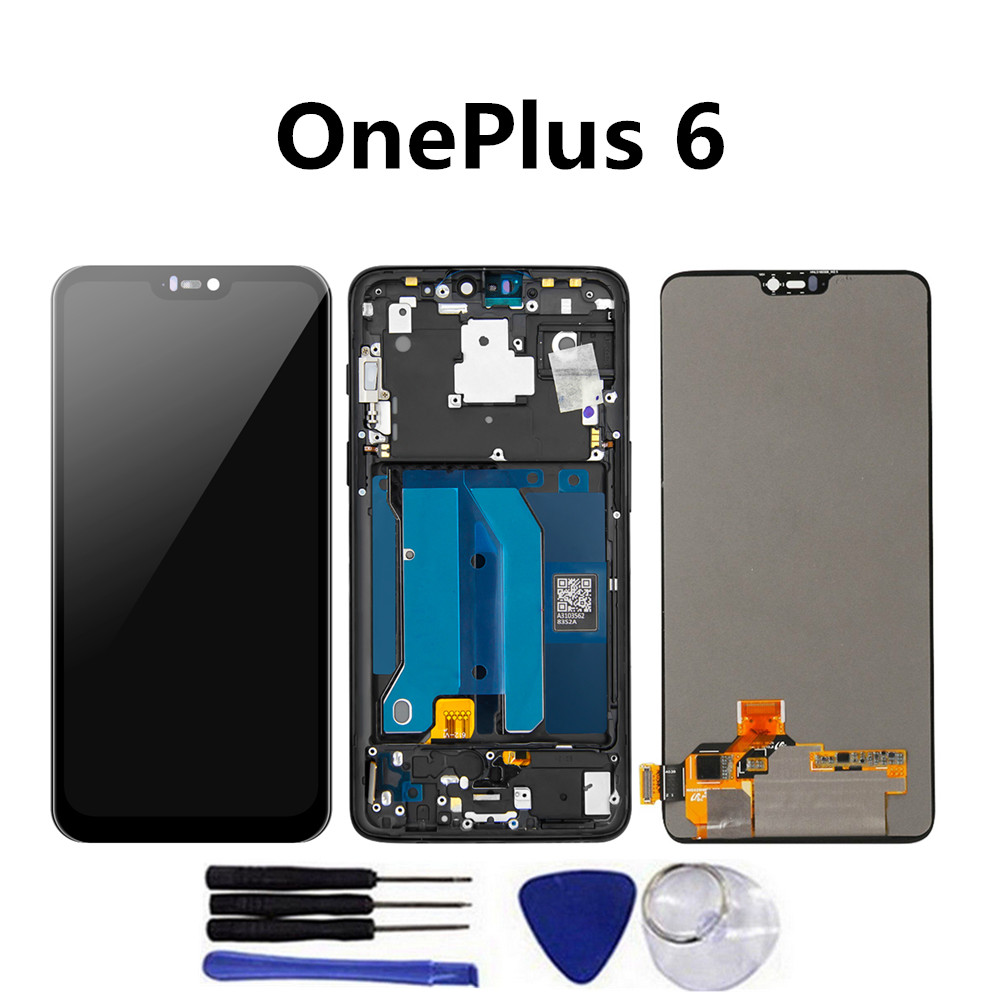 AAA LCD For <font><b>Oneplus</b></font> 6 <font><b>A6000</b></font> A6003 LCD Display Touch <font><b>Screen</b></font> Digitizer Glass Assembly + Frame for 1+6 LCD image