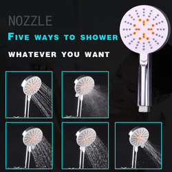 5 Modes Rain Shower Head Square Water Saving Showerhead 3 Modes Handheld Bath Spray High Pressure Nozzle ABS Plating With Switch