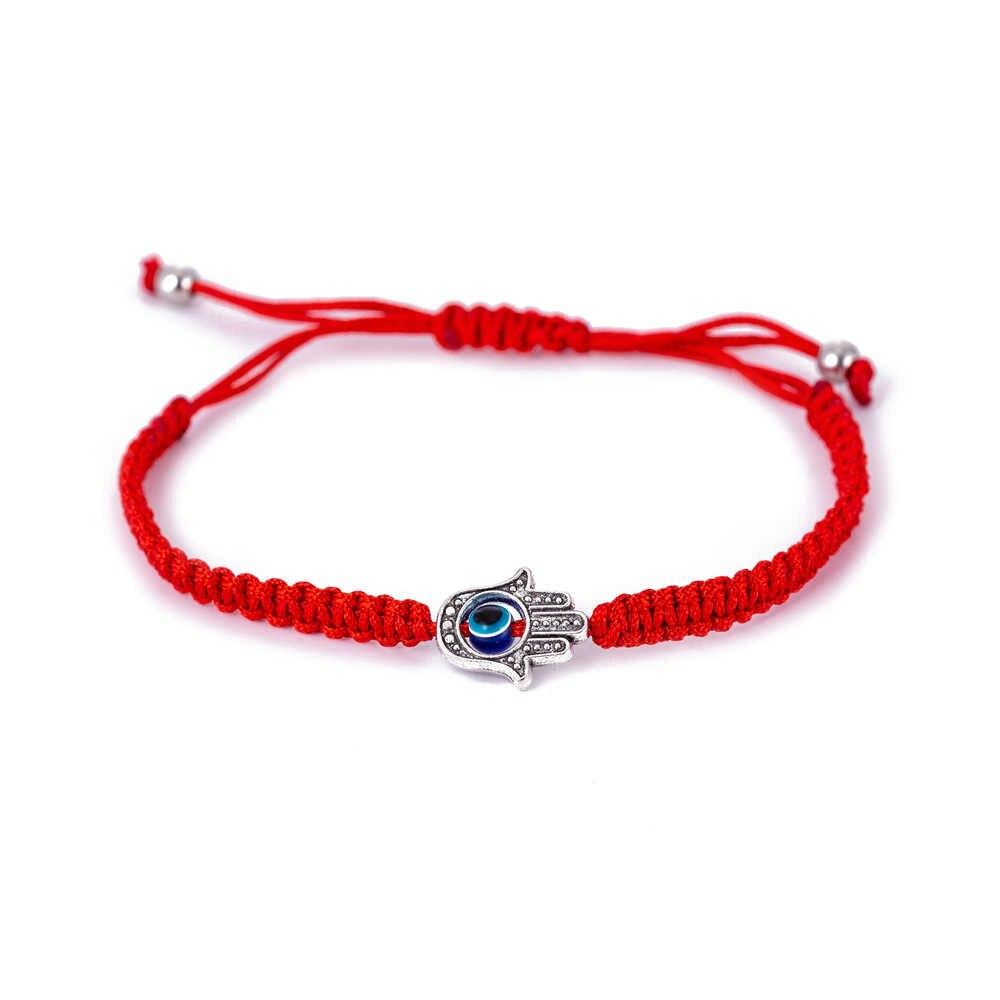 Ручная работа, Хамса, рука сглаза, шарм, Красная Нить, браслет для женщин, мужчин, детей, регулируемая красная нить, веревочный браслет