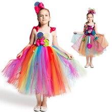 Радужное платье ярких цветов; милый костюм для девочек на карнавал; День рождения; леденец для детей; платье пачка с цветочным узором и повязкой на голову; Милая нарядная одежда