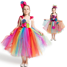 Rainbow Candy Dress Girls Sweet Costume for Carnival Birthday Kids Lollipop Flower Tutu Dress with Headband Cute Fancy Clothing