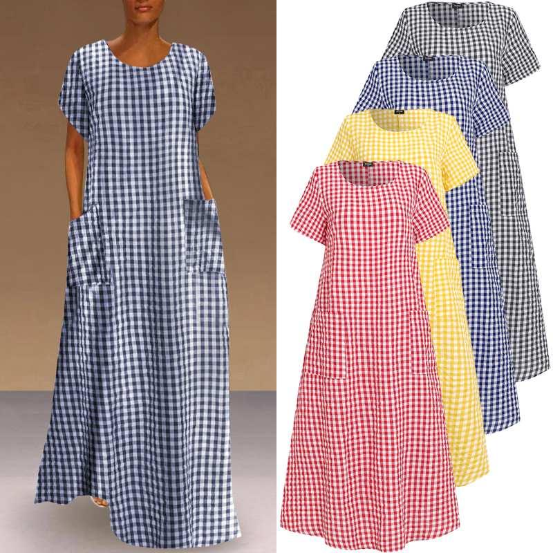 Women Dress Vintage Bohemian Maxi Long Dress Loose Sundress Plaid Printed Sundress VONDA Casual Robe Femme Plus Size Vestido