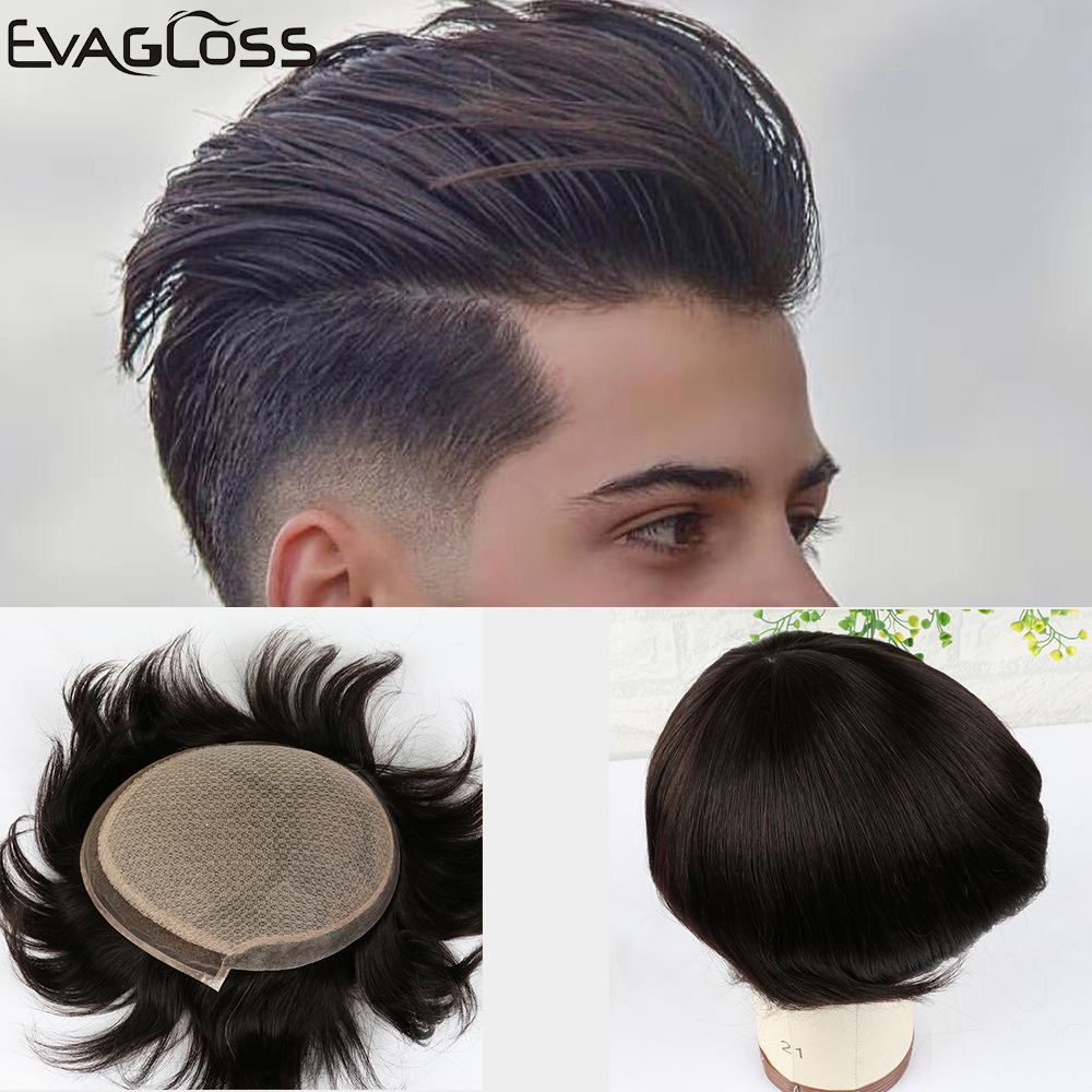EVAGLOSS Toupee Mens Silk Base With Swiss Lace Pure Handmade For Men Wigs Natural Remy Human Hair Prosthesis For Male Wig