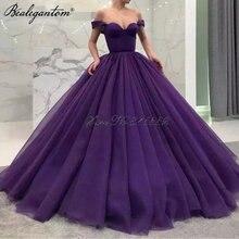 Женское бальное платье с открытыми плечами фиолетовое элегантное