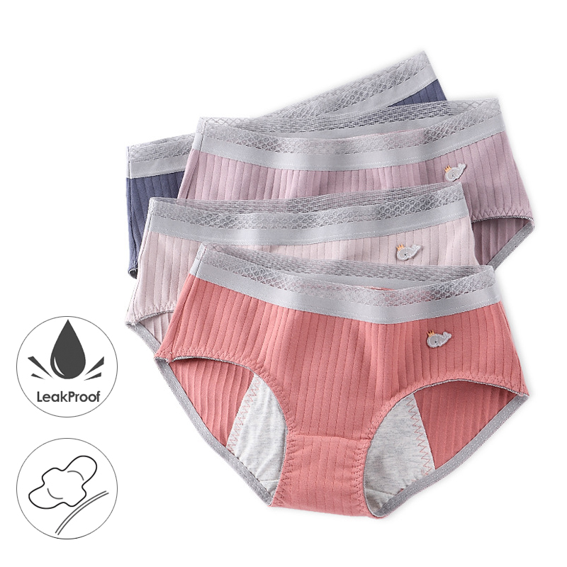 Leak Proof Menstrual Panties Physiological Pants Women Underwear Period Cotton Waterproof Briefs Lingerie Dropshipping 3 Pcs/set