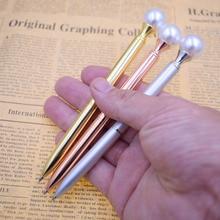 1PC Colorful Pearl Metal Ball Pens 1mm Black Ink Ballpen Gift Office School Supplies Joy Corner