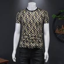 2021 New Summer Stripe Color Matching Short Sleeve T-shirt Men's Summer Trend Letter Print T-shirt