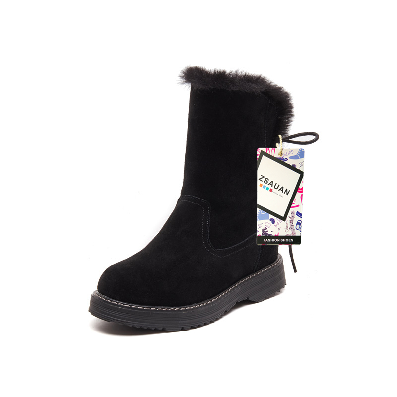 ZSAUAN Winter Women Snow Boots Fashion Cow Suede Leather Round Toe Women 39 s Boots High Top Female Girl Warm Furry Shoes in Ankle Boots from Shoes