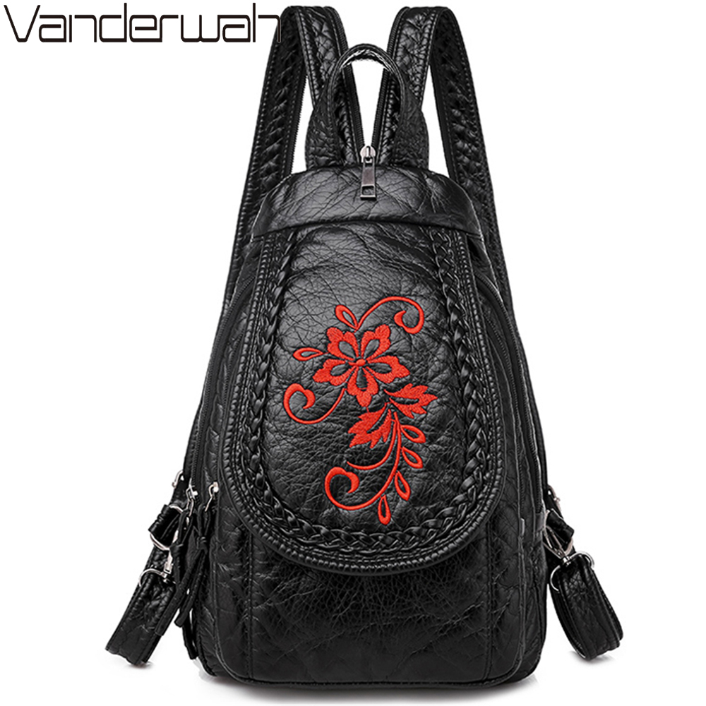New Winter 3-in-1 Women Backpack Ladies Casual Embroidery Flowers Chest Bag Washed Soft Leather Women Shouldr Bag Mochila Mujer