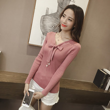 Spring and Autumn New Commuter Pure Elastic Pullovers V-collar Long Sleeve Bottom Knitted Sweaters