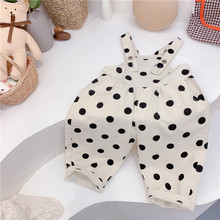 Jumpsuit Overalls Baby-Girl Button Sleeveless Dot Black Summer Spring Loose for Closure