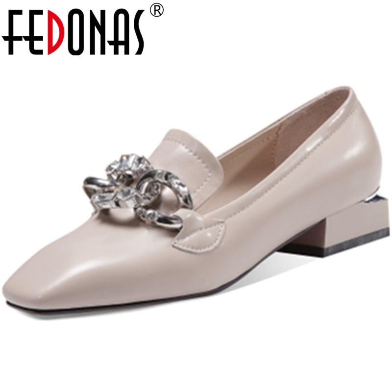 FEDONAS Metal Decoration Square Heels Pumps Cow Genuine Leather Square Toe Woman Shoes Retro Party Working Basic New Shoes Woman