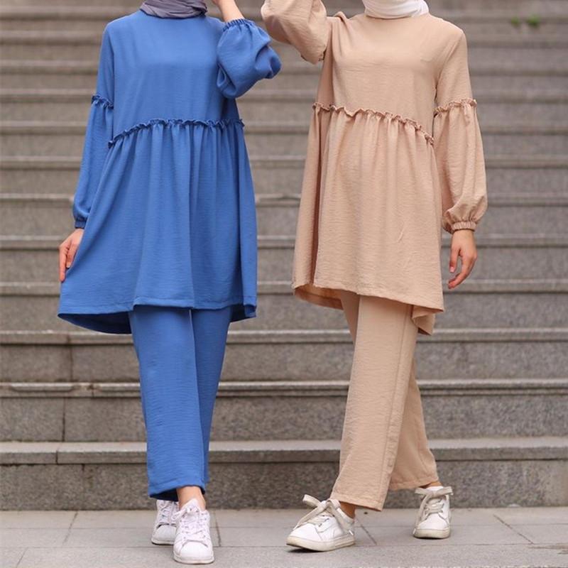Fashion muslim sets abaya dubai 2020 long tops for muslim girls long dress for muslim women oman islamic wearfree shipping