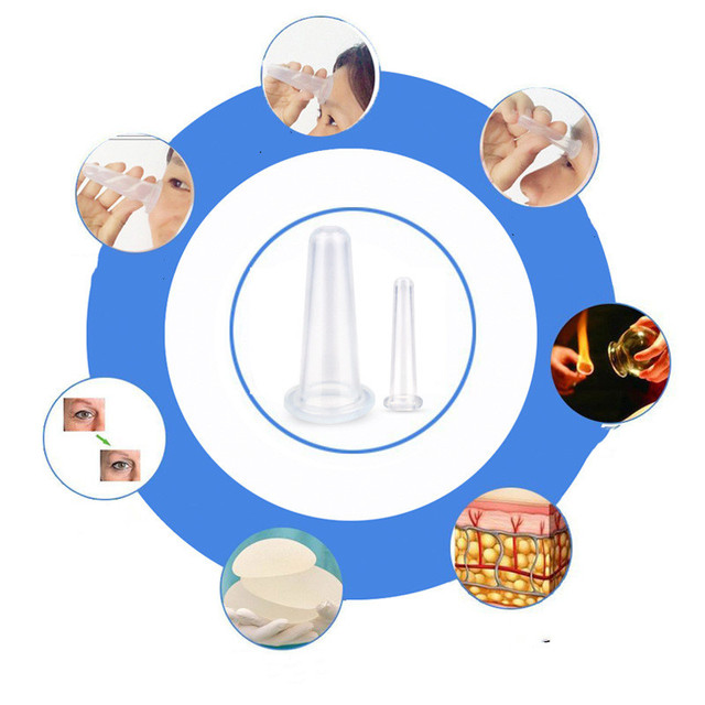 4 Pcs Massage Vacuum Cupping Set Silicone Face Cuping  Therapy Cup Anti Cellulite Body Massage Health Care 1