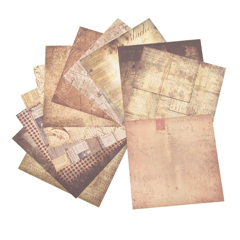 AHOMASH Material Vintage papel de fondo diario chatarra álbum de recortes 24 hojas decorativas álbumes de fotos DIY fabricación de tarjetas de papel