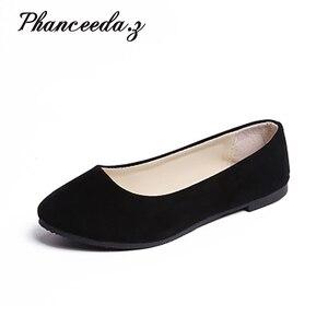Image 1 - Zapatos planos de estilo europeo para mujer, mocasines informales con punta redonda, de talla grande 7 10, para Primavera, 2020