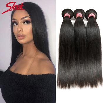 Sleek Straight Hair Bundles Peruvian Hair Bundles Remy Human Hair Extensions 1/3/4 Bundle Deals Weave Double Weft Weave image