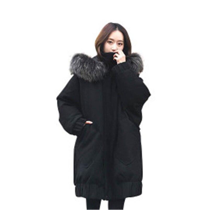 New Winter Women's Coats Loose Plus Size Female Down Cotton Coat Fashion Cotton Parkas For Women Fur Coats Hooded Femme Outwear