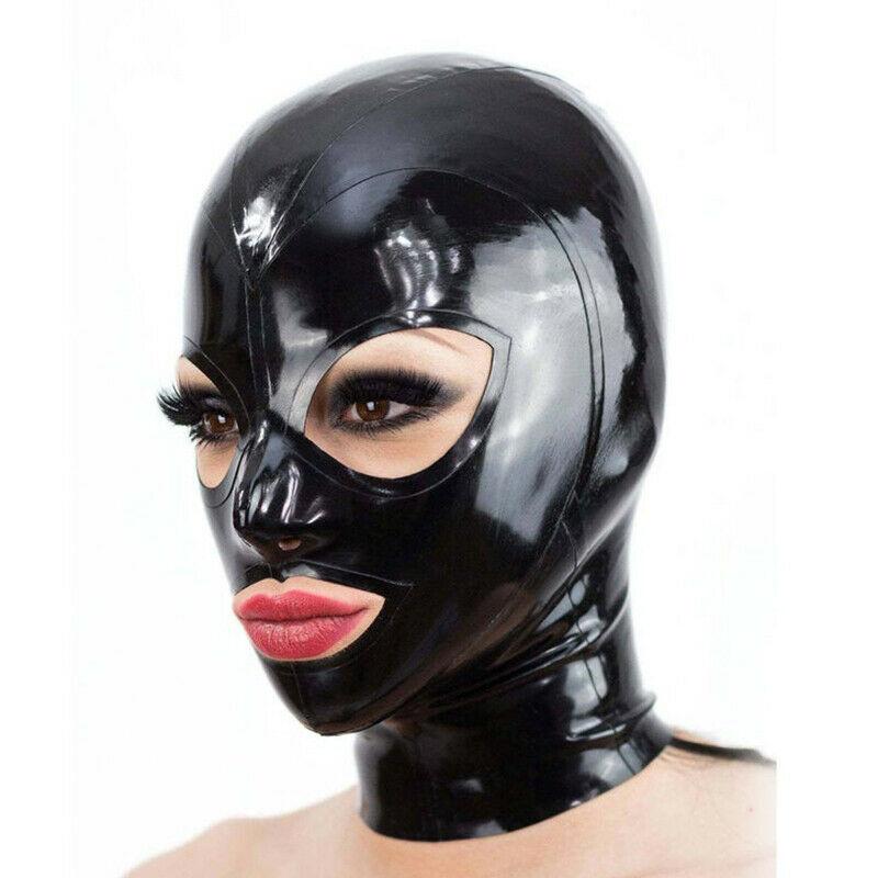 Латексный капюшон, открытые глаза и рот для красивых девушек, резиновая маска, клубный костюм