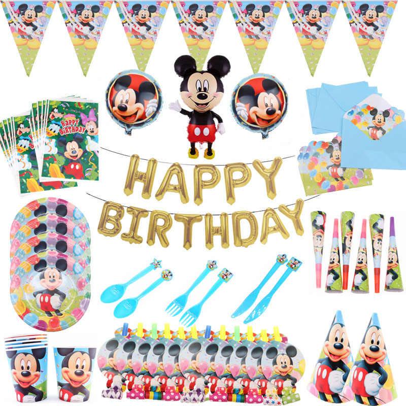 Mickey mouse platos de papel de cumpleaños pajitas pastel topper niños Baby Shower fiesta suministros invitaciones de boda decoraciones de Navidad