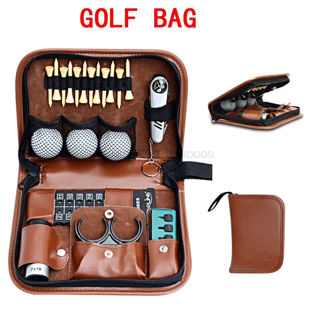 Golf bag Artificial/faux leather Golfer's Gift Set Tool Kit Tool Carrying Bag Range finder knife brush ball clip tee score