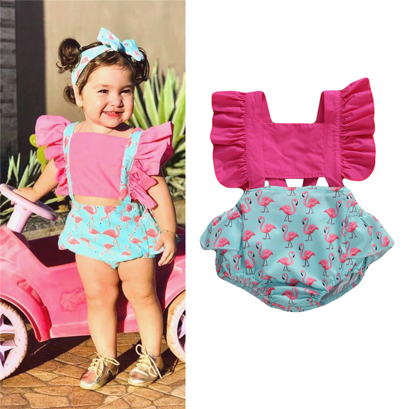 2020 summer toddle baby girls Clothes fashion Outfits hanging shoulder <font><b>short</b></font> Fly <font><b>sleeve</b></font> bow printed romper set suits 0-24M image
