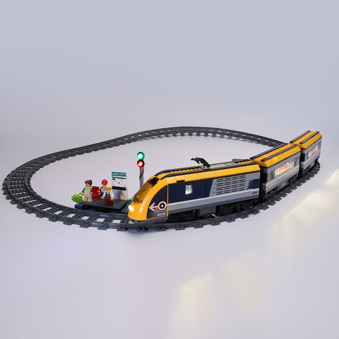 LED Building Block USB Light Accessory Kit for City Passenger Train <font><b>60197</b></font> (Only LED Light, No Block Kit) image