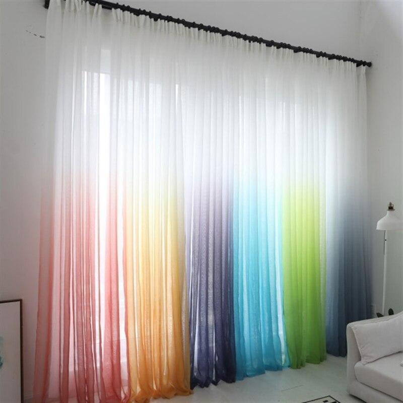 Cor gradiente tule cortinas voile para sala de estar roxo cinza sheers tecido para tratamento janela cortinas